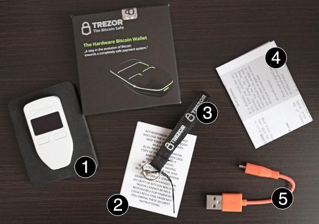 محتویات داخل جعبه مدل وان trezor wallet