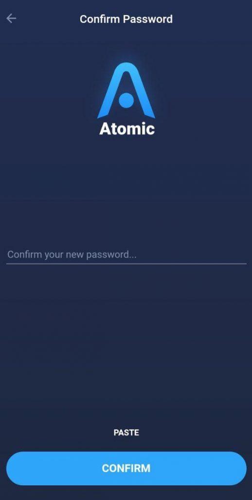 تائید پسورد در Atomic Wallet