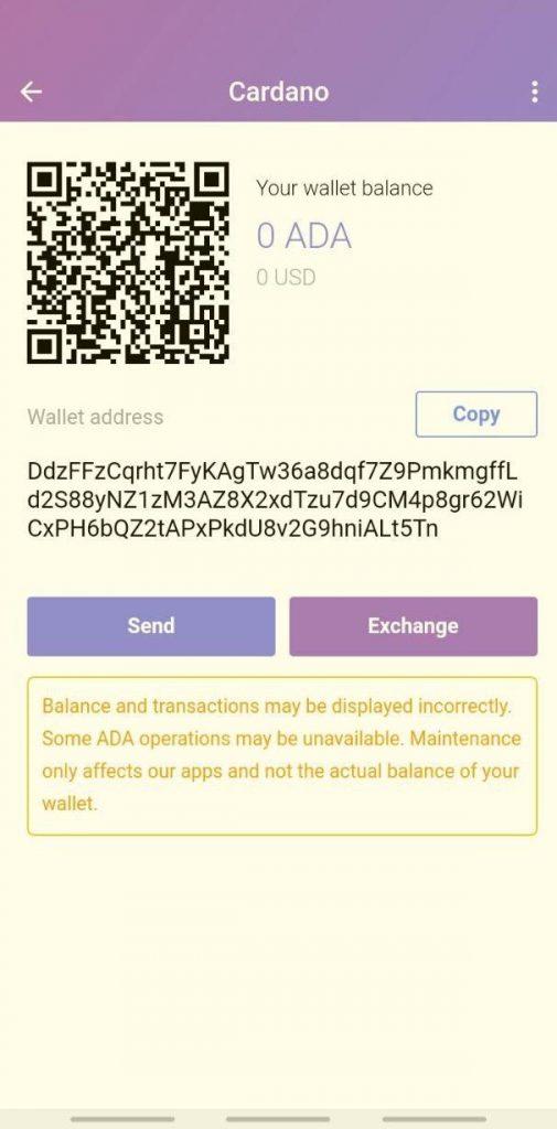 دریافت ارز دیجیتال در کیف پول گواردا