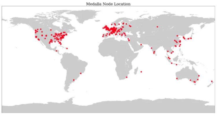 تقسیم بندی جغرافیایی نودهای شبکه آزمایشی نهایی عمومی مدالا اتریوم 2