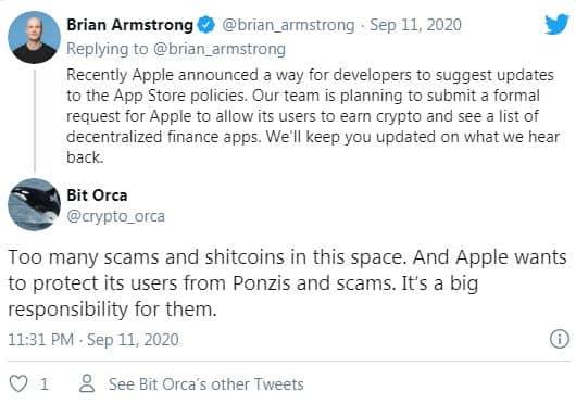 توییت یکی از کاربران اپل درباره محدودیت های این شرکت برای ارزهای دیجیتا