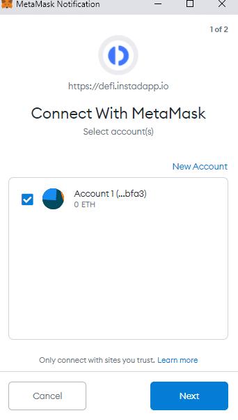 اتصال Instadapp به متامسک